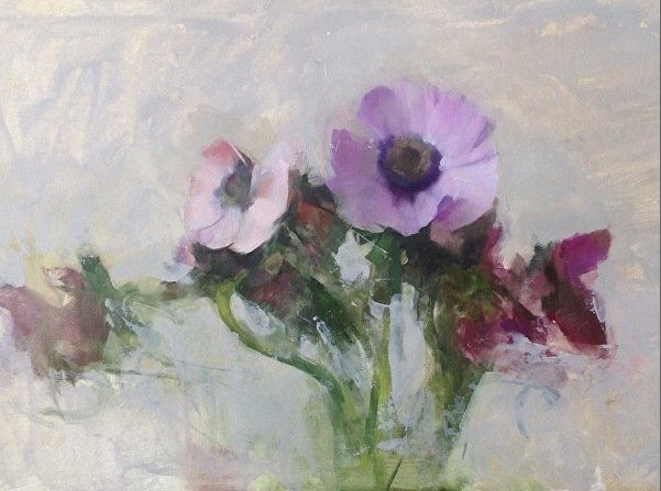 Kathleen Speranza, Anemones for Prince, Oil on panel, 11 x 16 in.